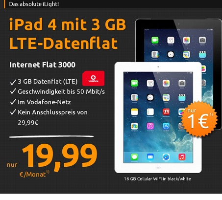 crash tarife deal angebot ipad4 nur 1 euro mit 3 gb vodafone flat handy dsl tarif info. Black Bedroom Furniture Sets. Home Design Ideas