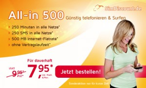 SimDiscount Smartphone-Tarif All-in 500 Aktionstarif - Dauerhaft nur 7,95 Euro monatlich