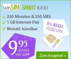winSIM Tarifaktion Smart 1000 für nur 9,95 Euro monatlich