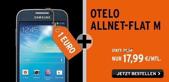 Die otelo Allnet-Flat M inklusive dem Samsung Galaxy S 4 mini für einmalig nur 1 Euro Zuzahlung