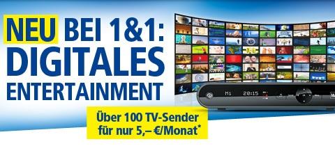 Neu bei 1&1 - Digitales Entertainment mit über 100 TV-Sendern für nur 5 Euro im Monat