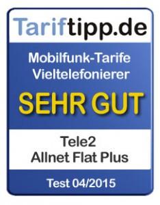 Tele2 Tariftipp.de Siegel 04-2015 Allnet-Flats mit Internet-Flat