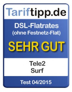 Tele2 Tariftipp.de Siegel 04-2015 DSL-Tarife ohne Festnetz-Flat