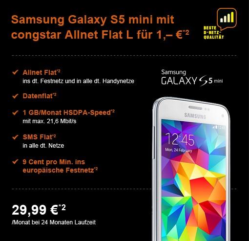 Die günstige Allnet-Flat im Telekom D1-Netz - Die Congstar Allnet-Flat L mit dem Samsung Galaxy S5 mini für einmalig 1 Euro Zuzahlung