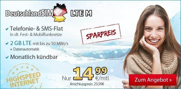 DeutschlandSIM Winterspecial Aktionstarif - Allnetflat Handytarif für Smartphones inklusive 2 GB LTE Datenflat - monatlich kündbar - für günstige 14,99 Euro monatlich