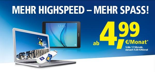 Die 1&1 Datenflats für Notebooks und Tablets ab 4,99 Euro im Monat mit 50 Prozent mehr Highspeed-Datenvolumen
