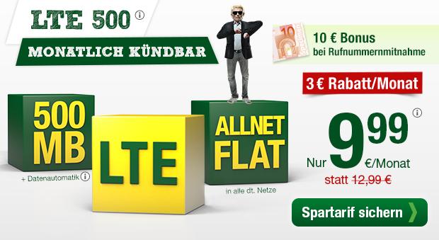 smartmobil.de Spartarif - Allnetflat Handytarif mit 500 MB LTE-Datenvolumen nur 9,99 Euro monatlich