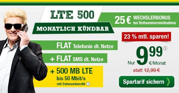smartmobil.de LTE 500 Allnetflat Spartarif für 9,99 Euro monatlich