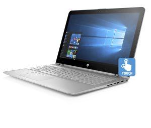 Das HP envy x360 15.6 Notebook mit Windows 10 Ansicht seitlich von links