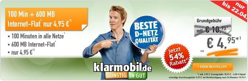 Klarmobil Smart-Flat mit 600 MB nur 4,95 Euro monatlich - Exklusiv auf Handybude.de