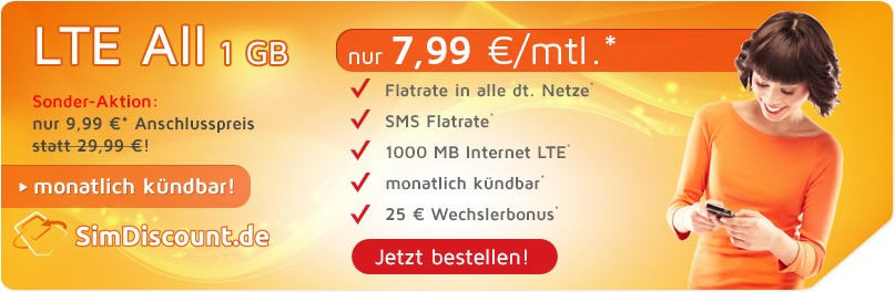 SimDiscount LTE All 1GB - Allnetflat LTE Handytarif mit 1GB LTE Datenflat für monatlich nur 7,99 Euro