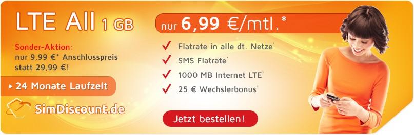 SimDiscount LTE All 1GB mit 24 Monaten Laufzeit - Allnetflat LTE Handytarif mit 1GB LTE Datenflat für monatlich nur 6,99 Euro