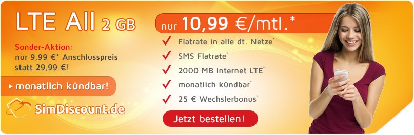 SimDiscount LTE All 2 GB - Allnetflat LTE Handytarif mit 2 GB LTE Datenflat für monatlich nur 10,99 Euro