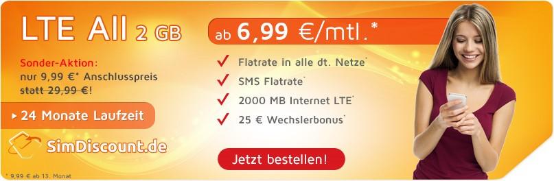 SimDiscount LTE All 2GB mit 24 Monaten Laufzeit - Allnetflat LTE Handytarif mit 2GB LTE Datenflat ab monatlich nur 6,99 Euro
