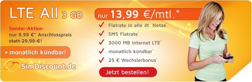 SimDiscount LTE All 3 GB - Allnetflat LTE Handytarif mit 3 GB LTE Datenflat für monatlich nur 13,99 Euro