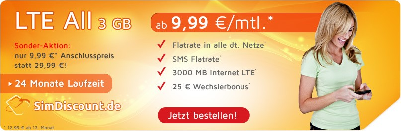 SimDiscount LTE All 3GB mit 24 Monaten Laufzeit - Allnetflat LTE Handytarif mit 3GB LTE Datenflat ab monatlich nur 9,99 Euro