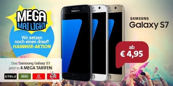 Die Sparhandy Mega Mai Lights mit dem Samsung Galaxy S7 in den Allnetflat Handytarifen Base All-in, Vodafone Smart Young XL und im FC Köln Tarif