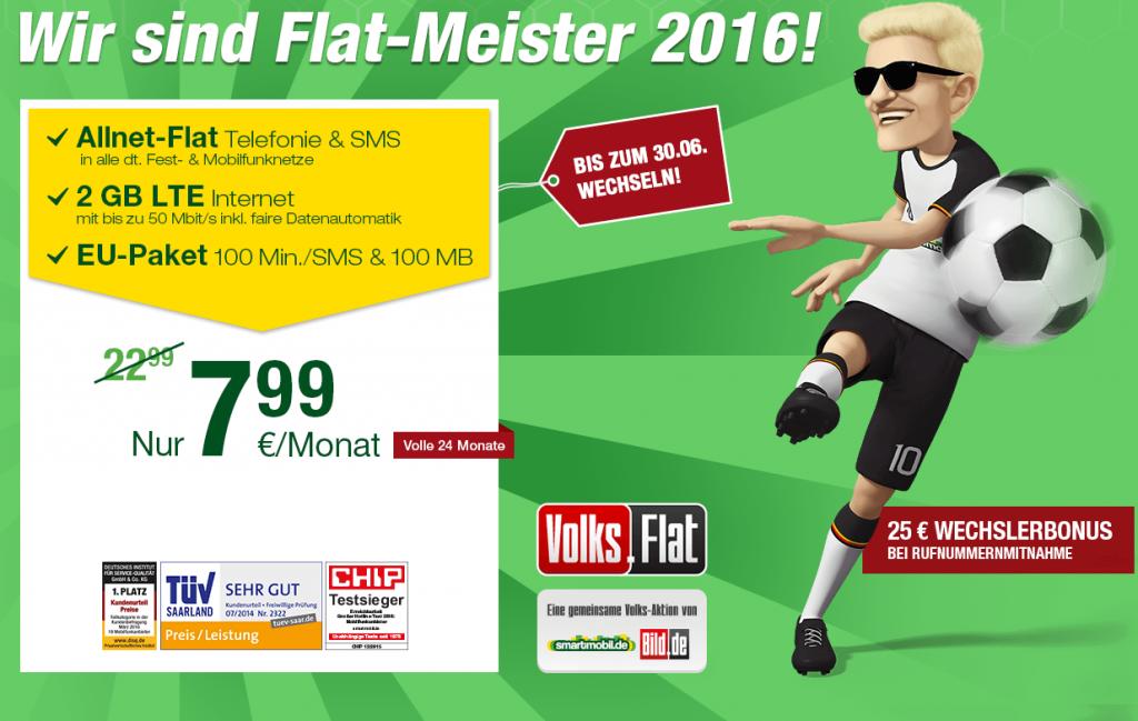 Die smartmobil.de und Bild.de Volks Flat - Der monatlich kündbare Flatmeister Allnetflat Handytarif inklusive 2GB LTE Datenflat für günstige 7,99 Euro monatlich