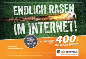 Endlich Rasen im Internet - Tele Columbus Glasfaser Internet mit bis zu 400 Mbit/s