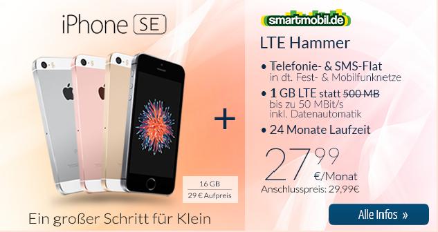 smartmobil.de LTE-Hammer Handyvertrag mit iPhone SE und Allnetflat Handytarif inklusive 1GB LTE Datenflat nur 27,99 Euro monatlich