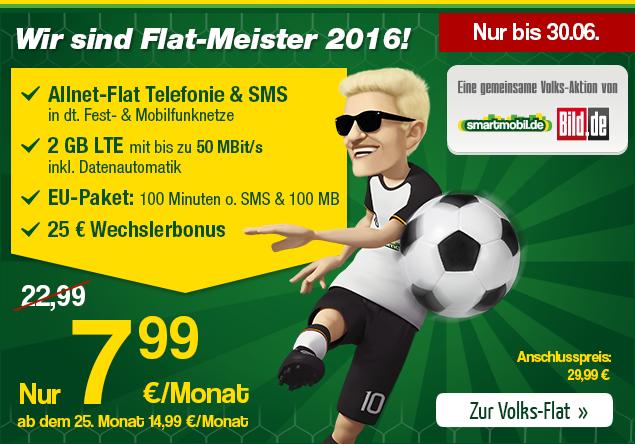 smartmobil.de und Bild.de Flat Meister - Die Volks Flat - Der monatlich kündbare Allnetflat Handytarif inklusive 2GB LTE Datenflat und EU-Roaming für günstige 7,99 Euro monatlich