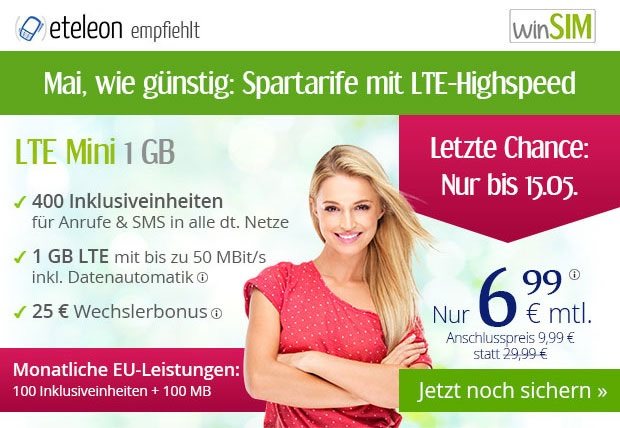 winSIM Spartarife im Mai mit LTE Datenflats ab günstige 6,99 Euro monatlich