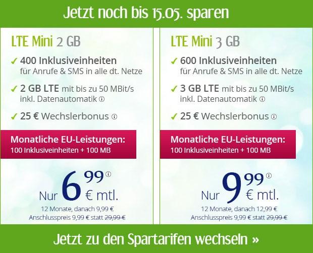 winSIM Spartarife im Mai mit LTE Datenflats inklusive EU-Roaming Option ab günstige 6,99 Euro monatlich