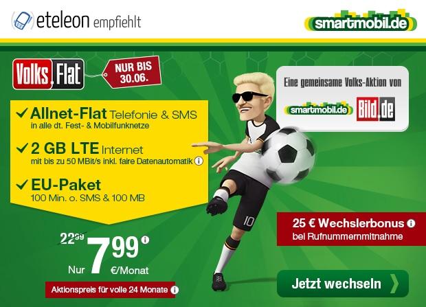 smartmobil.de und BILD.de präsentieren die Volks-Flat ein Allnetflat Handytarif inklusive 2 GB LTE Datenflat für nur 7,99 Euro monatlich