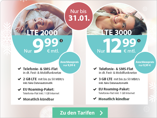 PremiumSIM Allnetflat Preiskracher Aktionstarife - LTE 2000 und LTE 3000 monatlich kündbare Allnetflat Handytarife inklusive EU Auslandsflat schon ab 9,99 Euro monatlich