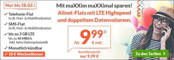 maXXim Handytarif Aktion - Billige LTE Allnetflat Handyverträge mit doppeltem Datenvolumen ab 9,99 Euro monatlich und einmalig 10 Euro Wechselbonus