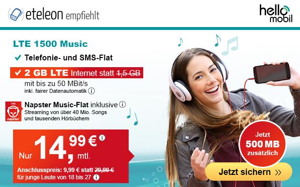 Die Napster Musicflat Handyverträge von helloMobil - Hier der LTE 1500 mit 500 MB Datenvolumen extra