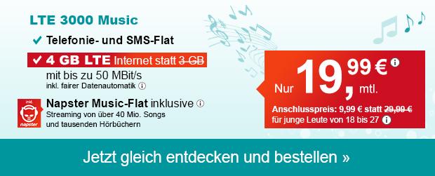 Die Napster Musicflat Handyverträge von helloMobil - Hier der LTE 3000 Music mit 1GB Datenvolumen extra