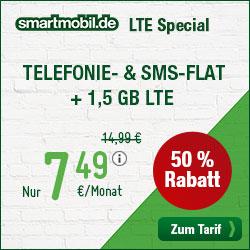 smartmobil LTE Special Allnetflat Handytarif mit 50 Prozent Rabatt