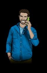 congstar-Grafik - Telefonierender Mann