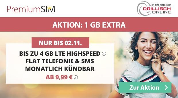 PremiumSIM Aktionstarif - Handyvertrag mit bis zu 4GB LTE-Datenflat ab nur 9,99 Euro monatlich