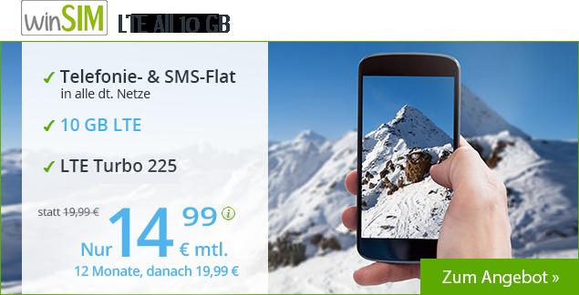 Tariftipp - winSIM LTE All 10 GB Allnetflat Handytarif für 14,99 Euro monatlich in den ersten 12 Monaten