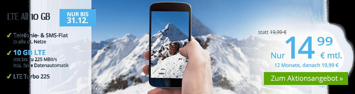 winSIM Aktionstarif LTE All 10 GB für unter 15 Euro monatlich in den ersten 12 Monaten