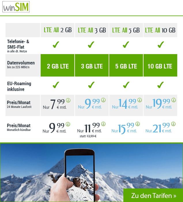 winSIM LTE Allnetflat Handytarife in einer Übersicht