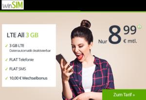 winSIM Spar-Tipp - Allnetflat Handytarif mit 3 GB LTE Datenvolumen nur 8,99 Euro monatlich
