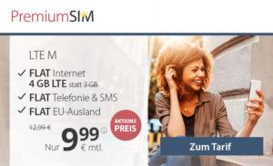 PremiumSIM Allnetflat Handytarif mit 4 GB LTE-Datenvolumen für nur 9,99 Euro monatlich