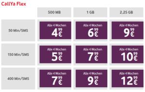 Tarifübersicht Vodafone D2 CallYa-Flex Prepaid Handytarife