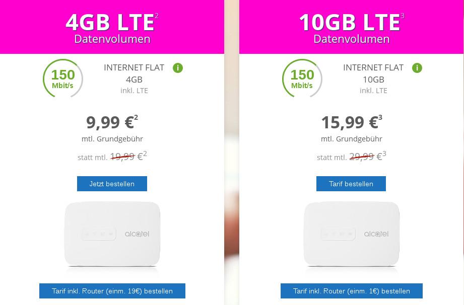 Spartipp 10 Gb Lte Datenflat Im Telekom D1 Netz Mit 150 Mbit Für 15