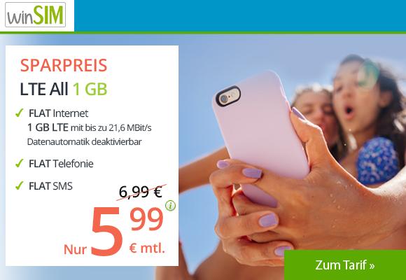winSIM LTE All 1GB Allnetflat Aktionstarif für nur 5,99 Euro monatlich - Die Aktion ist nur noch bis zum 06.09.2018 gültig!