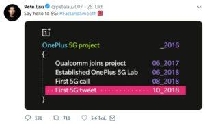 Erster 5G-Tweet von OnePlus CEO Pete Lau
