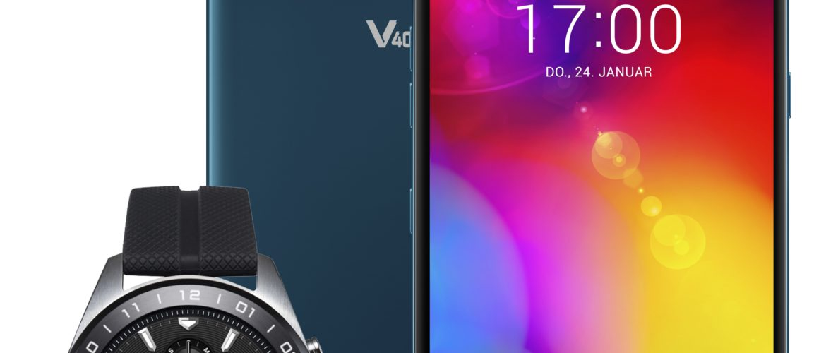 Das LG V40-ThinQ Smartphone mit Watch-W7