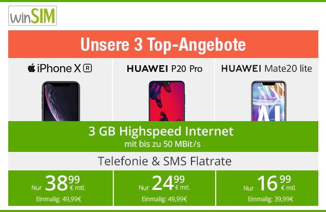 Top Angebote von winSIM - 3GB Allnetflat Handytarif im Bundle mit Top Handy