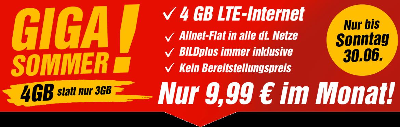 Aktuelle Tarifaktion bei BILDconnect - Aktion GIGA SOMMER! Sommerferien Special - Der BILDconnect Handytarif Flat LTE M mit 4 GB für nur 9,99 Euro
