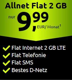 Kracher Angebot bei Crash-Tarife - 2 GB LTE Handytarif im Telekom D1-Netz für nur 9,99 Euro im Monat