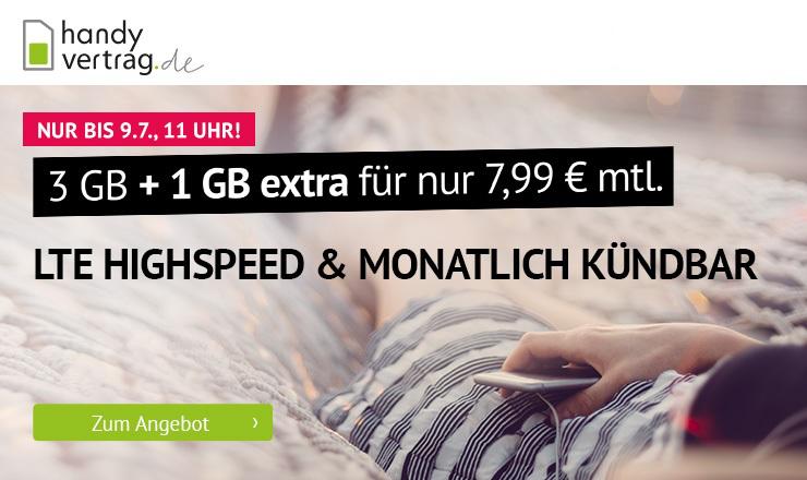 Sommerhit bei handyvertrag.de - 4 GB LTE Allnetflat Handytarif für nur 7,99 Euro