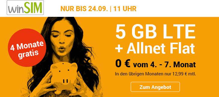 4 gewinnt Tarifaktion bei winSIM - LTE All 5GB Handytatif 4 Monate gratis
